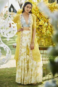 Varun-bahl Express style in your own way by wearing this floral embroidered & printed sharara with crop top & jacket. ,Floral embroidery ,Flared silhouette ,Comes with open jacket and crop top Sangeet Outfit, Mehendi Outfits, Indian Wedding Outfits, Indian Outfits, Indian Clothes, Desi Clothes, Bridal Outfits, Western Dresses, Indian Dresses