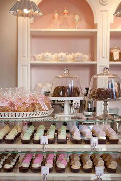Peggy Porschen's Bake Shop  @Emily Schoenfeld Schoenfeld Schoenfeld White This is how I pictured our bakery looking some
