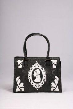 Μαύρη ασημί τσάντα ώμου – χειρός, με σχέδια από άσπρο λουστρίνι.  Ανάγλυφη επιφάνεια σαν δαντέλα. Bags, Fashion, Handbags, Moda, Fashion Styles, Fashion Illustrations, Bag, Totes, Hand Bags