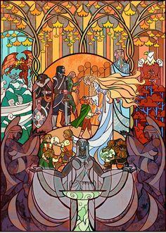 Artist Jian Guo  via http://geekartgallery.blogspot.com/2012/09/illustration-lord-of-rings-stained-glass.html  and   http://io9.com/5941663/scenes-from-lord-of-the-rings-illustrated-as-brilliant-stained-glass-windows