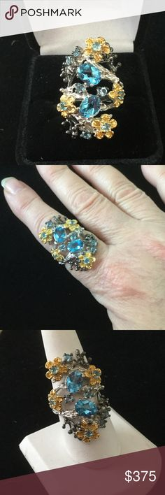 Spectacular Artist Topaz & Sterling & Gold Ring One of a kind !  Big time beautiful !  Better than any Sterling jewelry at the mall.  Genuine Blue Topaz in a Sterling & 14K Gold setting.  This is so unique,  something that can be handed down generation to generation. Solid heavy Sterling. The best of the best Artist Created Jewelry Rings