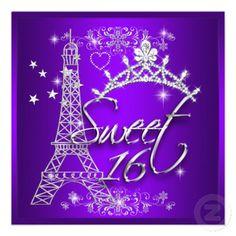 Purple Sweet 16 Sweet Sixteen Eiffel Tower Custom Invitations invitations Birthday invitations by zizzago.com