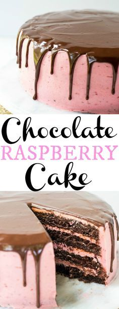 Moist chocolate cake layered with sweet raspberry buttercream and drizzled with a delicious chocolate ganache glaze.