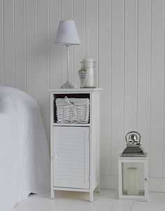 Very Slim Bedside Table tall, narrow bedside table to go with tall bed. new england white
