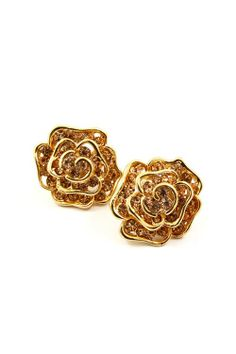 Champagne Crystal Rose Earrings  Always gorgeous, exquisite Gold Roses with Champagne Crystal Petals. |Jewelry - Daily Deals|