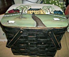 prim picnic basket hand painted picnic by CottageDesignStudio