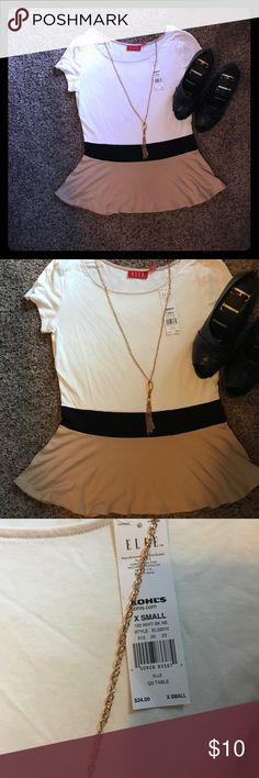 Colorblock peplum shirt Cute neutral colored peplum shirt. NWT. Tops