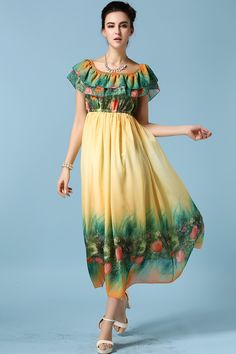 looks like a flower bed at the bottom. Yellow Off the Shoulder Floral Chiffon Dress