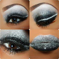Black white silver ... eye makeup ...I know you want my diamonds.