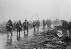 British troops coming out of the trenches near Guillemont, 27 November 1916.