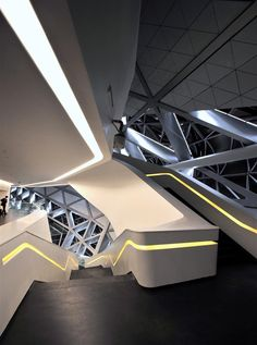 Thoroughfare - Guangzhou Opera House by Zaha Hadid - Guangzhou, Zhongguo (China) Futuristic Interior, Futuristic Design, Futuristic Architecture, Architecture Design, Beautiful Architecture, Contemporary Architecture, Business Architecture, China Architecture, Contemporary Design