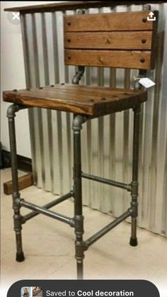 Bottoms Up: Build These Stylish Adjustable Height Bar . Industrial Bar Kitchen Stool With Reclaimed Wood Seat . 15 Amazing DIY Bar Stool Ideas You Should Check Out Right Now. Home and Family Industrial Interior Design, Vintage Industrial Furniture, Industrial Interiors, Industrial Decorating, Industrial Apartment, Apartment Kitchen, Industrial Bar Stools, Industrial Shelving, Industrial Pipe