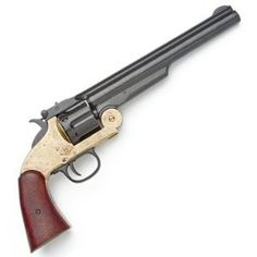 Schofield Revolver with Black / Brass Finish Frame - Replica of Classic Old West Pistol Used by U.S. Cavalry, Wells Fargo Agents, and Frank James - Nice Prop Gun Weapons Guns, Guns And Ammo, Schofield Revolvers, Revolver Pistol, Gun Holster, Holsters, Frank James, Cool Guns, Le Far West