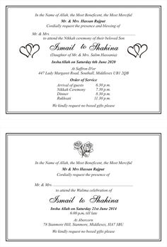 The 12 Best Traditional Muslim Wedding Card Wordings Images On