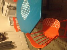Lace, spray paint, kitchen table and chairs