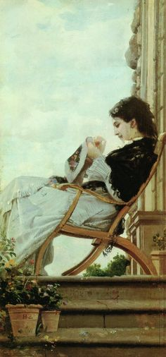 'Woman Embroidering on the Terrace' - Cristiano Banti.