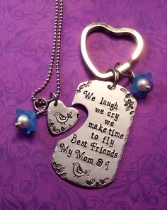 Hand stamped heart necklace and metal keychain set - mom - mother - bird - best friends - daughter - child - children  by TheWagTaggery on Etsy https://www.etsy.com/listing/185490047/hand-stamped-heart-necklace-and-metal