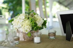 woodland wedding centerpiece, birch vase, woodland wedding, white and green centerpieces, burlap table runners, portland wedding florist, Fl...