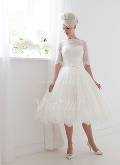 Wedding Dresses - $161.26 - A-Line/Princess Scoop Neck Knee-Length Lace Wedding Dress With Bow(s) (0025088670)