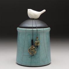 Ceramic jar with Bird,green pottery jar ,Little Clay Bird on Jar, raku fired art pottery