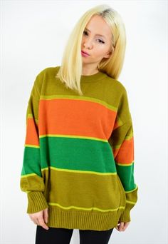 Vintage 80s Colourful Striped Wool Knit Jumper
