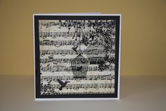 Vintage Music Sheet  with Stamped Hummingbirds £1.50