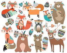 Woodland Tribal Animals Clipart Vol. 2  Set of by KennaSatoDesigns