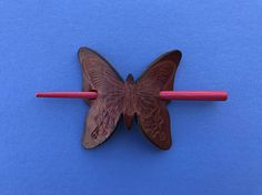 Vintage 1970's  Hair Holder  Leather Butterfly With Wood