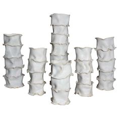 Set of Six Ceramic Vases in Bamboo Shape   From a unique collection of antique and modern vases and vessels at https://www.1stdibs.com/furniture/decorative-objects/vases-vessels/