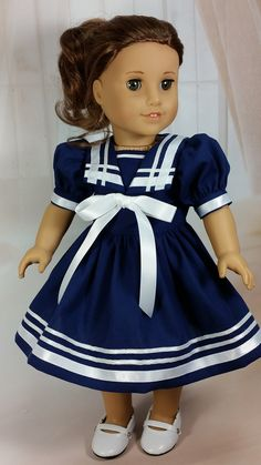 DollClothesbyShirley on Easy. I like the different widths of ribbon American Girl Doll Shoes, American Girl Dress, American Girl Crafts, American Doll Clothes, American Girls, Sewing Doll Clothes, Baby Doll Clothes, Doll Clothes Patterns, Doll Patterns