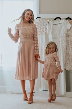 blush mother and daughter dresses. pink bridesmaid and flower girl dresses.