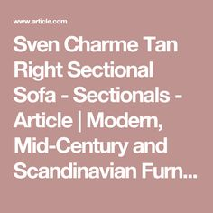 Sven Charme Tan Right Sectional Sofa - Sectionals - Article | Modern, Mid-Century and Scandinavian Furniture