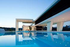 futuristic home Architecture Design, Beautiful Architecture, Greece Architecture, Building Architecture, Installation Architecture, Ancient Architecture, Eckhaus, Luxury Pools, Bungalows