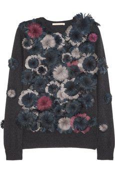 Christopher Kane Floral feather-appliqué cashmere sweater | NET-A-PORTER