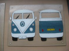 Hand Painted Personalised VW Camper 400mm x 300mm Glass Worktop Saver