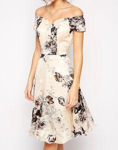 Image 3 ofChi Chi London Premium Oversize Mono Floral Midi Dress With Bardot Neck