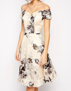 Image 3 of Chi Chi London Premium Oversize Mono Floral Midi Dress With Bardot Neck