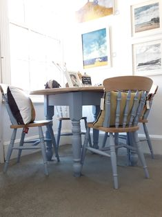 Farmhouse Style Hand Painted Round Pine Dining Table & 4 Chairs Soft Blue Grey Modern Look Rustic Kitchen Or New Home Pine Table And Chairs, Blue Dining Tables, Rustic Round Dining Table, Shabby Chic Table And Chairs, Dining Room Table, Dining Chairs, Red Chairs, Painted Kitchen Tables, Small Kitchen Tables