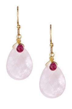 Rose Quartz Teardrop & Garnet Briolette Drop Earrings $16