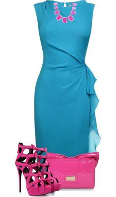 fuşya turkuaz elbise kombin modeli