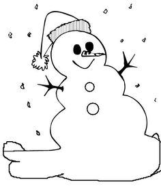 Winter Coloring Easy Snowman Pages PagesFull Size Image