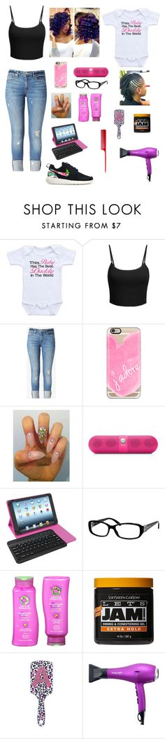 """doing arianna's hair"" by shantibabi ❤ liked on Polyvore featuring LE3NO, Hudson Jeans, Casetify, Beats by Dr. Dre, Tzumi, Gucci, Herbal Essences, Eva NYC and HairArt"