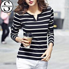 Striped T Shirt Women Clothes 2017 Vetement Femme Kawaii Tshirt V Neck Womens T-Shirt Casual Blusa Listrada Poleras De Mujer