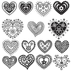 Free 15 Digi Stamps Hearts for Valentine art craft cards ideas