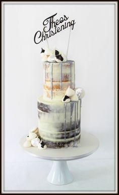 Semi naked silver drip Christening cake.
