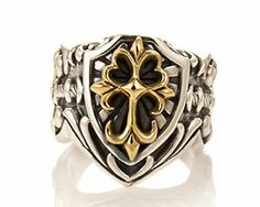 Floral Cross Shield Ring Two Tones Sterling Silver 925 | eBay