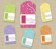 A colorful spool of thread and a framework of flowering vines adorn this ShanasPaw.com Tie-On Tag design. It is sized to print as a tie-on tag on Avery and similar commercial stationery products. Your purchase includes 6 printable templates with your choice of colors and wording. After we customize your templates, we will email them to you ready to print.