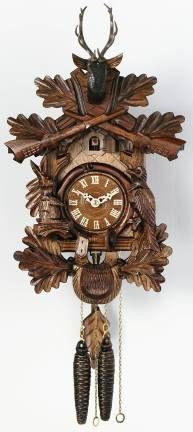 """One Day Hunter's Cuckoo Clock with Hand-carved Oak Leaves, Animals, Crossed Rifles, and Buck-16""""Tall"""