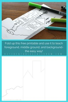 Teaching the concept of creating space in an artwork through the use of foreground, middle ground, and background while working on a flat piece of paper can be tricky to say the least. Use this free fold up printable to help your students envision exactly how these elements of landscape stack up!