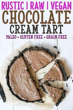 Raw Vegan Chocolate Cream Tart – a delicious rustic tart that is paleo, gluten free, grain free, nut free, refined sugar free, and dairy free.